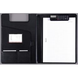 Klemmbrett Konferenzmappe BRESCIA Kst.leder A4 25x33cm schwarz inkl. Taschenrechner