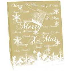 Geschenktasche Frohe Weihnachten 33x26x13cm mit Kordel u. Geschenkanhänger Premium Gold Hochglanz