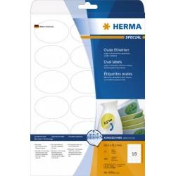 Etiketten ablösbar oval 63,5 x 42,3mm weiß Herma 4358 Pckg. á 450 Stück