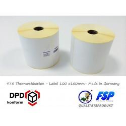 Etiketten 100x150mm auf Rolle für Thermodruck DPD GLS DHL Label (1 Rolle)