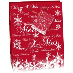 Geschenktasche Frohe Weihnachten 33x26x13cm mit Kordel u. Geschenkanhänger Premium Rot Hochglanz