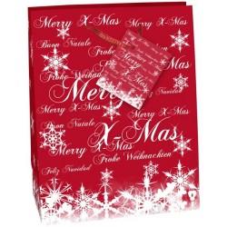 Geschenktasche Frohe Weihnachten 23x17x9cm mit Kordel u. Geschenkanhänger Premium Rot Hochglanz