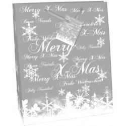 Geschenktasche Frohe Weihnachten 23x17x9cm mit Kordel u. Geschenkanhänger Premium Silber Hochglanz