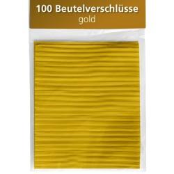 Beutelverschlüsse Länge 8cm gold 100 Stück im Folienbeutel mit Aufhängeloch