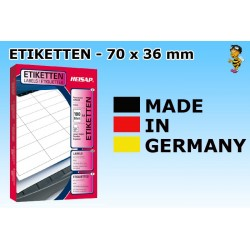 Heisap Etiketten Selbstklebe-Label 64,6x33,8mm (2400 Stück auf 100 Blatt A4)