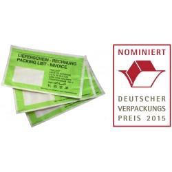 Papier Dokumententaschen Lieferscheintaschen DL Grün 250Stk.