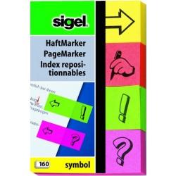 Haftmarker Neon 4 Farben 80x50mm Sigel HN635 div. Symbole 160Blatt SONDERANGEBOT