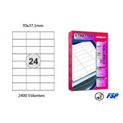 Selbstklebende Etiketten 70x37,1mm (2400 Stück auf 100 Blatt A4)