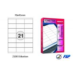 Heisap Etiketten Selbstklebe-Label 70x41mm (2100 Stück auf 100 Blatt A4)