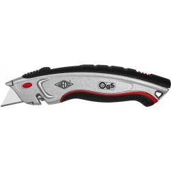 Cuttermesser Sicherheits-Universal-Cutter für Rechts-/Linkshänder Metall silber/schwarz mit 5 Klingen